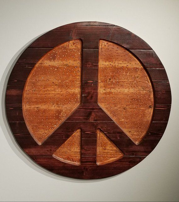 Peace Decor Hand Carved Wall Hanging Wood Art Peace Sign Hippie Art Large Wall Hanging Cedar Woo Statement Decor Wooden Wall Hangings Wooden Peace Sign