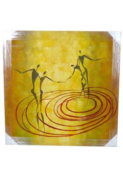 Cuadro moderno de Amantes dancing. Bastidor fabricado en madera. Fondo color amarillo con detalles de color rojo y negro. Medidas 80 x 80 cm. Colócalo en el pasillo, subida de escalera, salón, sala de estar, comercio...