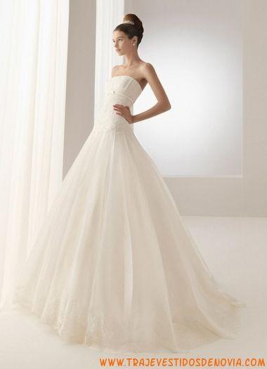 Vestidos de novia strapless hasta al suelo de organza