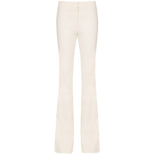 Derek Lam 10 Crosby Flare Trouser: White ($395) ❤ liked on Polyvore featuring pants, white, zipper pocket pants, flare leg pants, white pants, white linen pants and white flared trousers