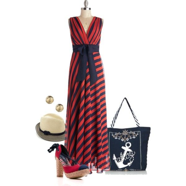 Striped maxi dress and nautical accessories