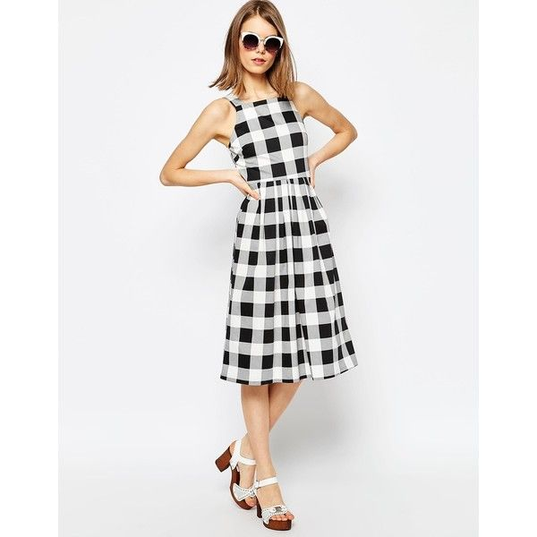 ASOS Structured Midi Dress in Gingham Print (€64) ❤ liked on Polyvore featuring dresses, multi, gingham print dress, tall dresses, white zipper dress, white high neck dress and white dress