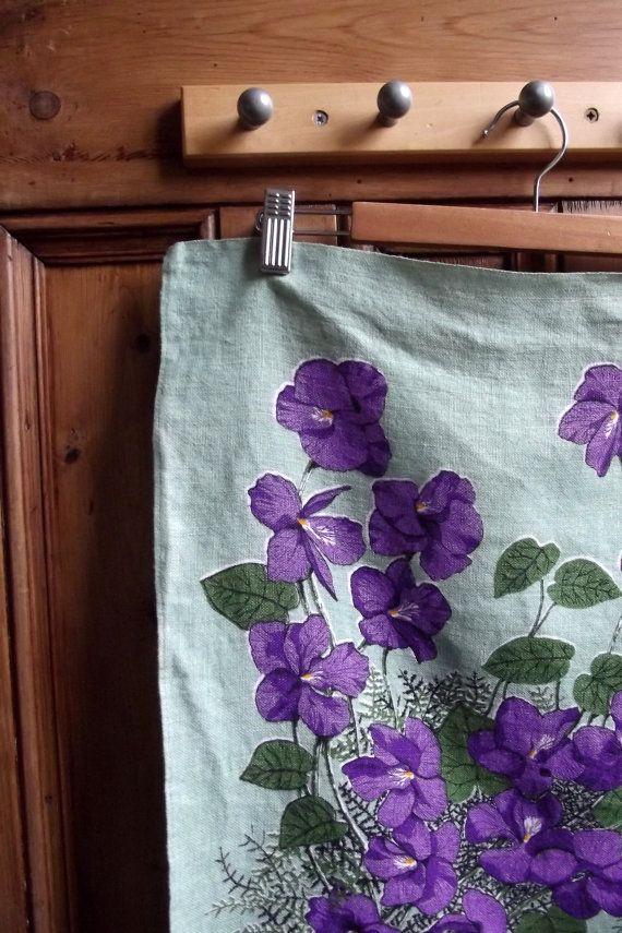 Retro Kitchen Violets Tea Towel Dish Cloth Dish Cloth