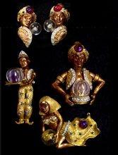HAR 1950's Genie/Fortune Teller Full-figure Male, Harem Girl, Male Genie, & Clip Earrings..