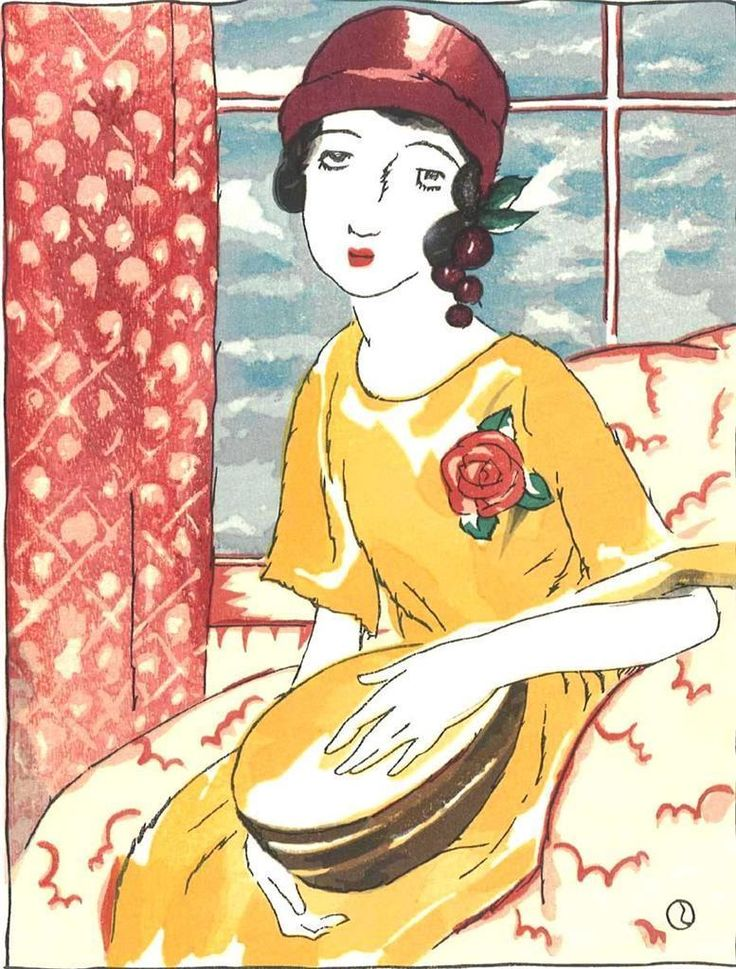 Takehisa Yumeji- Mandorinu (Girl with a mandolin) - Japanese Woodblock Print