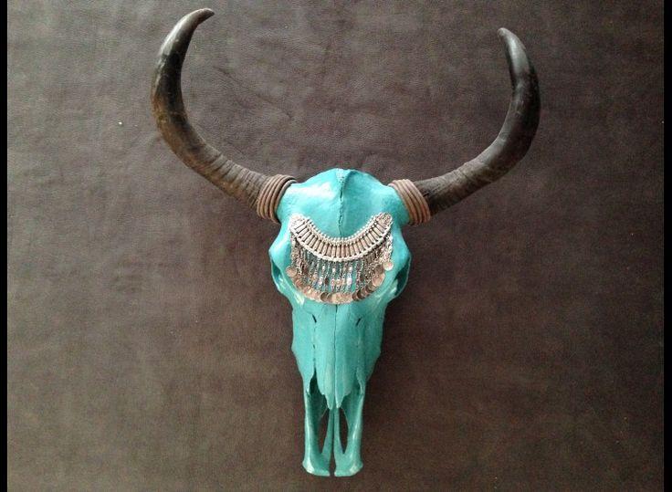 Bohemian Gipsy grote mooie Ibiza Skull met BOHO hoofdtooi
