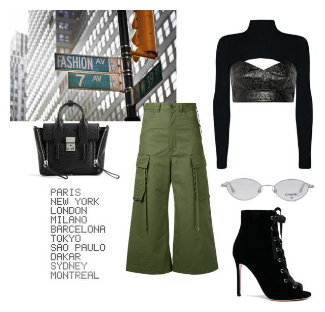 """""""chic le freak"""" by whatiscasual ❤ liked on Polyvore featuring Chanel, G.V.G.V., Toga, Gianvito Rossi, 3.1 Phillip Lim and ADZif"""