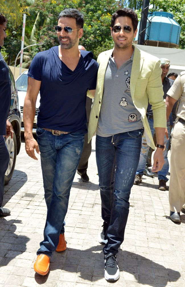 Akshay Kumar and Sidharth Malhotra arriving for the trailer launch of…