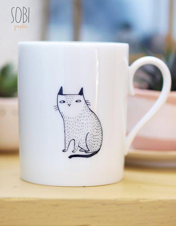 Eenpersoonskamer kat mok van Sobigraphie op Etsy