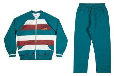 Conjunto Moletom Menino - Blusa Verde, Branca e Vermelha Aberta com Zíper, Calça Verde