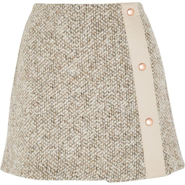 See by Chloé Wool-blend tweed mini skirt (€315) ❤ liked on Polyvore featuring skirts, mini skirts, bottoms, faldas, beige, see by chloé, wool blend skirt, short mini skirts, beige mini skirt and see by chloe skirt