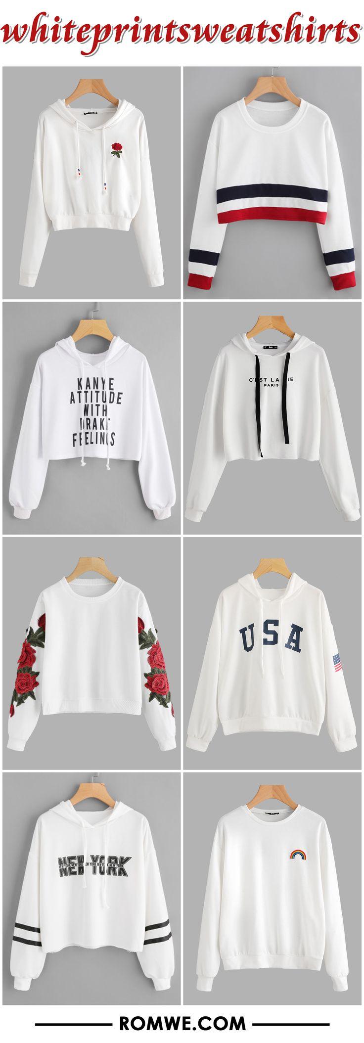 white print sweatshirts 2017 - romwe.com