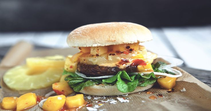 Try our Quorn Burger with pineapple rings, lettuce, tomatoes, onion, cheese, rounded off with a deliciously sweet mango relish.