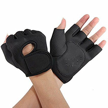 Flammi Women's Sport Cycling Fitness GYM Workout Exercise Half Finger Gloves (1 Pair) (Black)