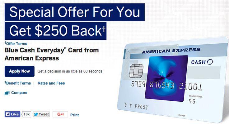 250 bonus up from 100 amex blue cash everyday card