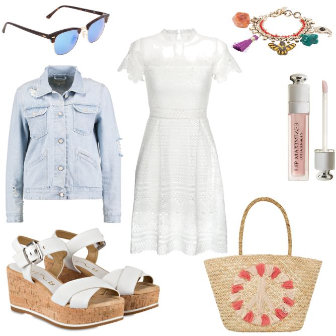 weißes Kleid - #ootd #outfit #fashion #oneoutfitperday #fashionblogger #fashionbloggerde #frauenoutfit #herbstoutfit - Frauen Outfit Outfit des Tages Sommer Outfit Armband Braun Cocktailkleid Dior Etro FourFlavor Hallhuber Jeansjacke Kleid Lipgloss Ray Ban Sonnenbrille Unisa Wedges weiss Wrangler