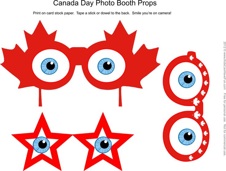 Free DIY Canada Day Photo Booth Props Page 2  http://www.kidscanhavefun.com/photo-booth-props.htm
