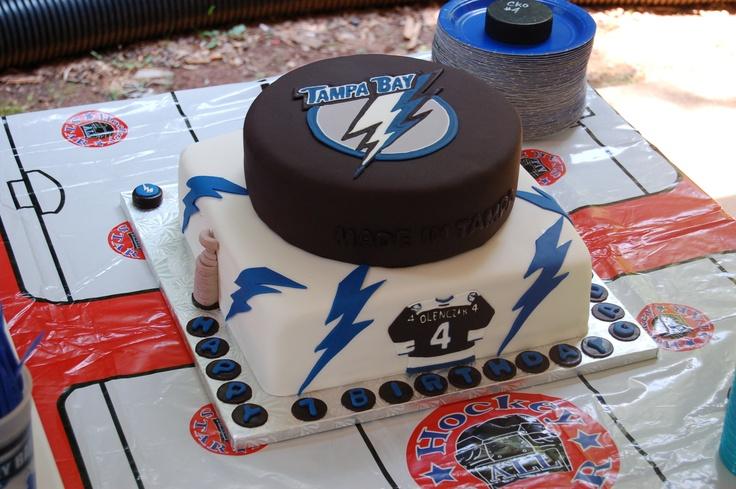Tampa Bay Lightning cake I made for my son's birthday.