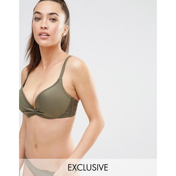 Wolf & Whistle Extreme Push Up 2 Cup Sizes B-G Cup (£18) ❤ liked on Polyvore featuring swimwear, bikinis, green, underwire bikini, underwire bikini tops, push up bikini, underwire tankini tops and swimsuit tops