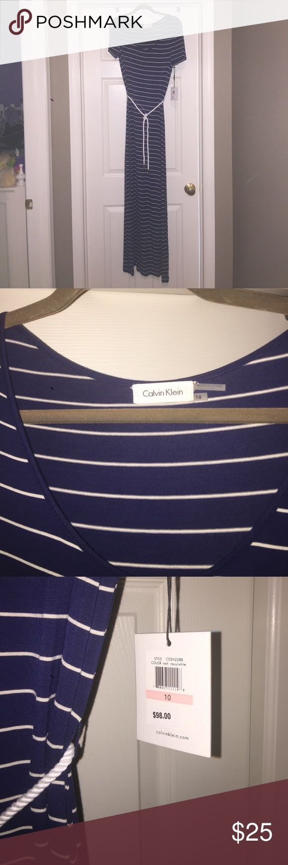 Calvin Klein Short Sleeve Dress Navy and white stripe. Brand new with tags. Size 10. Smoke free and pet free home. Calvin Klein Dresses Maxi