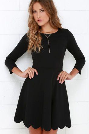 Black Scalloped Dress Fashionista Pinterest Dresses Skater