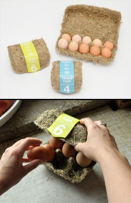 Mod 12 - Happy Eggs Packaging Eco-friendly egg packaging made of hay. Designed by Maja Szczypek.
