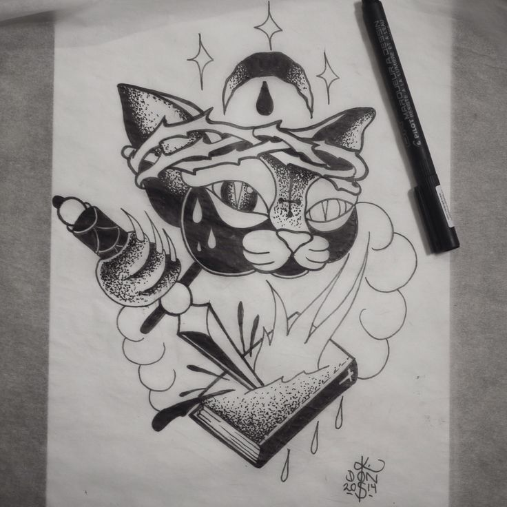 Dot work cat Jesus.