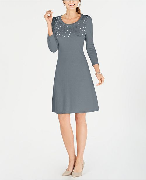32cdc9cd028 Faux Pearl-Embellished Sweater Dress