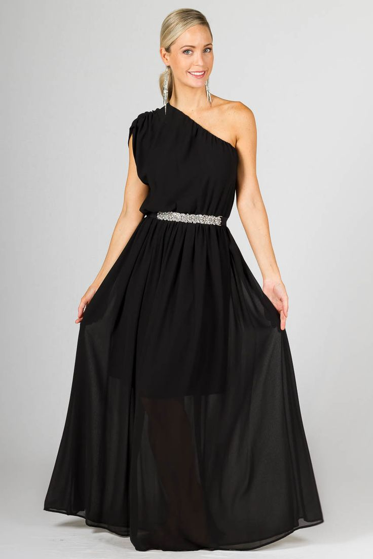 """Ella Maxi Dress - Black - Paper Scissors Frock bridesmaids dress. A gorgeous one shoulder designed maxi dress which looks elegant belted for a dressy look or unbelted for a more casual look.  This frock really can be dressed up or down.  With a double layered full chiffon skirt, elasticised at waist and a gathered feature on the little cap sleeve.  Made from Chiffon.  *belt not included model's own.  Pictured model 5'8"""""""