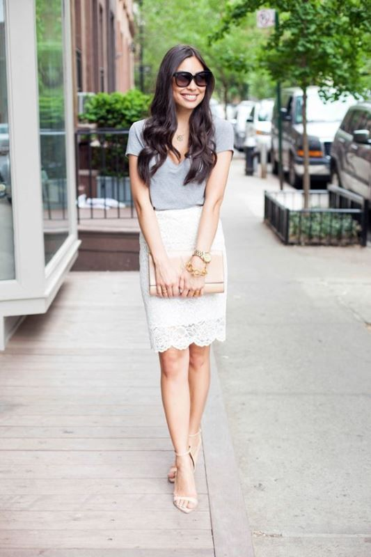 Pencil Skirt With A Casual Tee