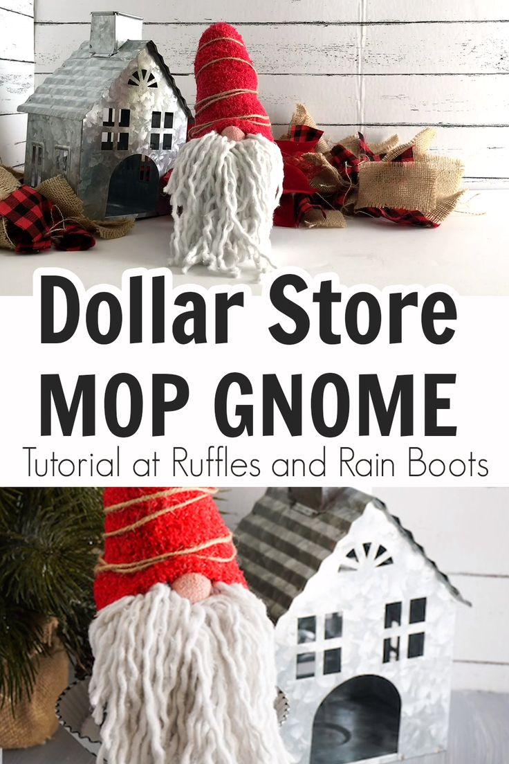 Dollar Store Mop Gnome in 2020 Dollar tree crafts