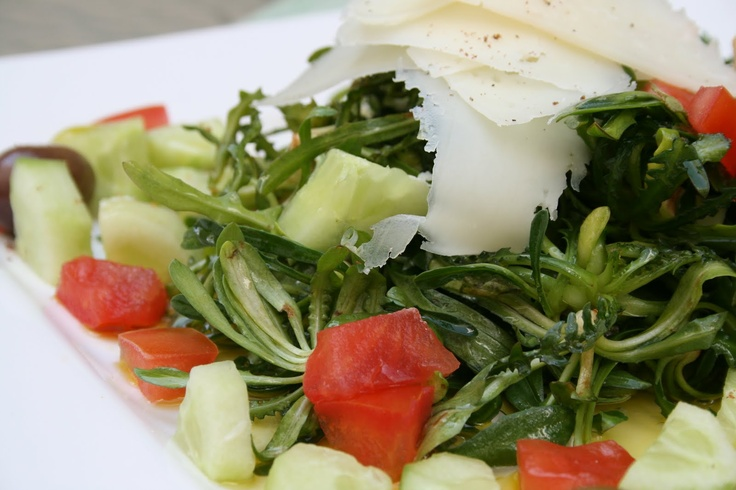 Boiled Stamnagkathi Greens with Hard Cheese & Tomatoes, Crete, Greece