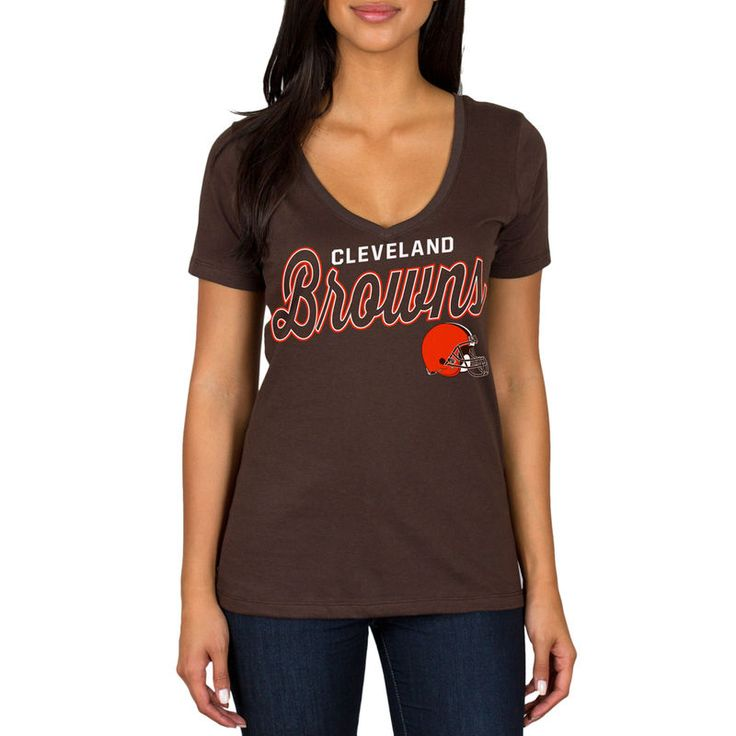 Cleveland Browns Women's Red Zone Script VNeck TShirt