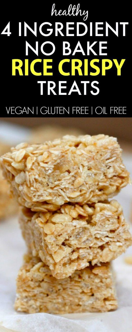 Healthy 4 Ingredient Rice Crispy Treats- NO butter, oil, sugar or marshmallows but 100% delicious- A HUGE hit amongst kids and adults! {vegan, gluten free, dairy free recipe}- thebigmansworld.com