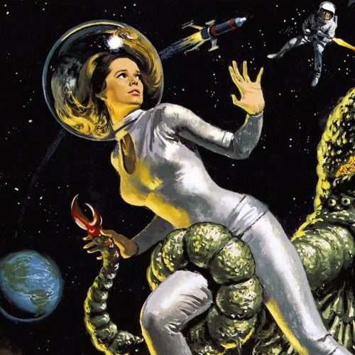 Detail from the movie poster for The Green Slime, 1968. Bubble helmet hair: yes