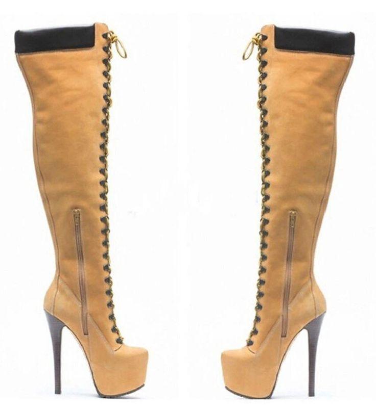 Botas Edición Up Botas altas sobre la rodilla estilo moderno, altura de tacón 12 cm Material: Cuero suave