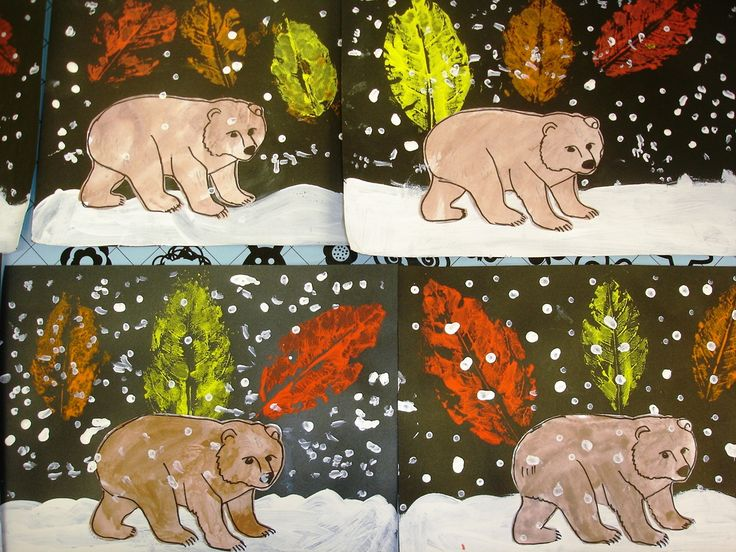 Bear in the snow with leaf stamps craft