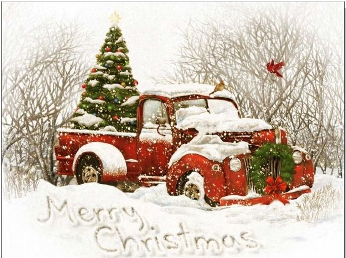 Vintage Red Truck with Christmas Tree card