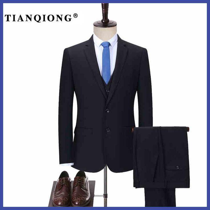 TIAN QIONG Men Tailor-made Business Suit Slim Fit Classic Male Suits Blazers Luxury Suit Men Two Buttons Suit(jacket+pants+Vest)