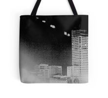 Madrid Spain city skyline at night black and white photograph Tote Bag