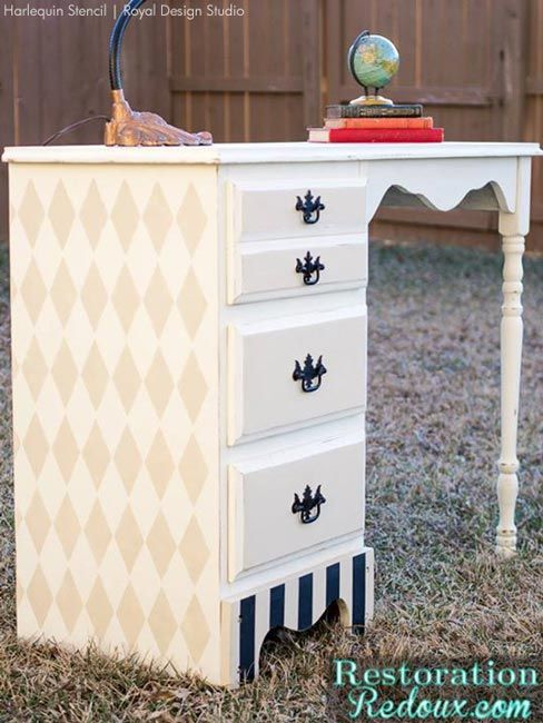 Harlequin Traditional Desk Furniture Restored and Makeover - Royal Design Studio modern and geometric stencils for painting furniture