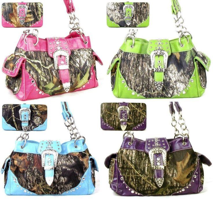 Western Belt Buckle Purse Camouflage Handbag Mossy Oak Camo Wallet Combo #HandbagsBlingMore #Hobo $62.99