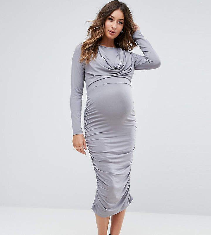 $14 | I love this beautiful grey maternity dress | ASOS Maternity - Nursing ASOS Maternity NURSING Cowl Neck Dress | maternity fashion | maternity clothes | maternity dress | maternity wardrobe | maternity outfit | #ad