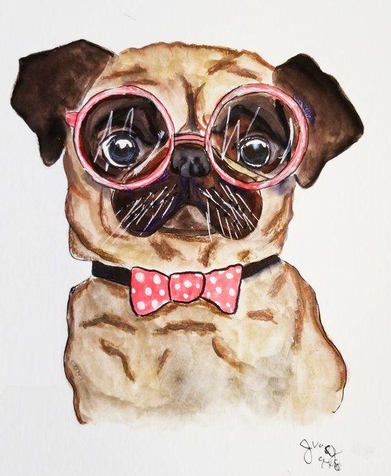 Pug Painting Pug Art Pug Canvas Pug Print Pug Art Print Dog