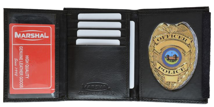 """Material: Genuine Leather Bi-fold Size: 7.5"""" x 4.5"""" Credit Card Slots: 8+ I.D. Window: Yes (Flip-out) Currency Pocket: Yes Other features: Standard badge holder with felt flap cover"""