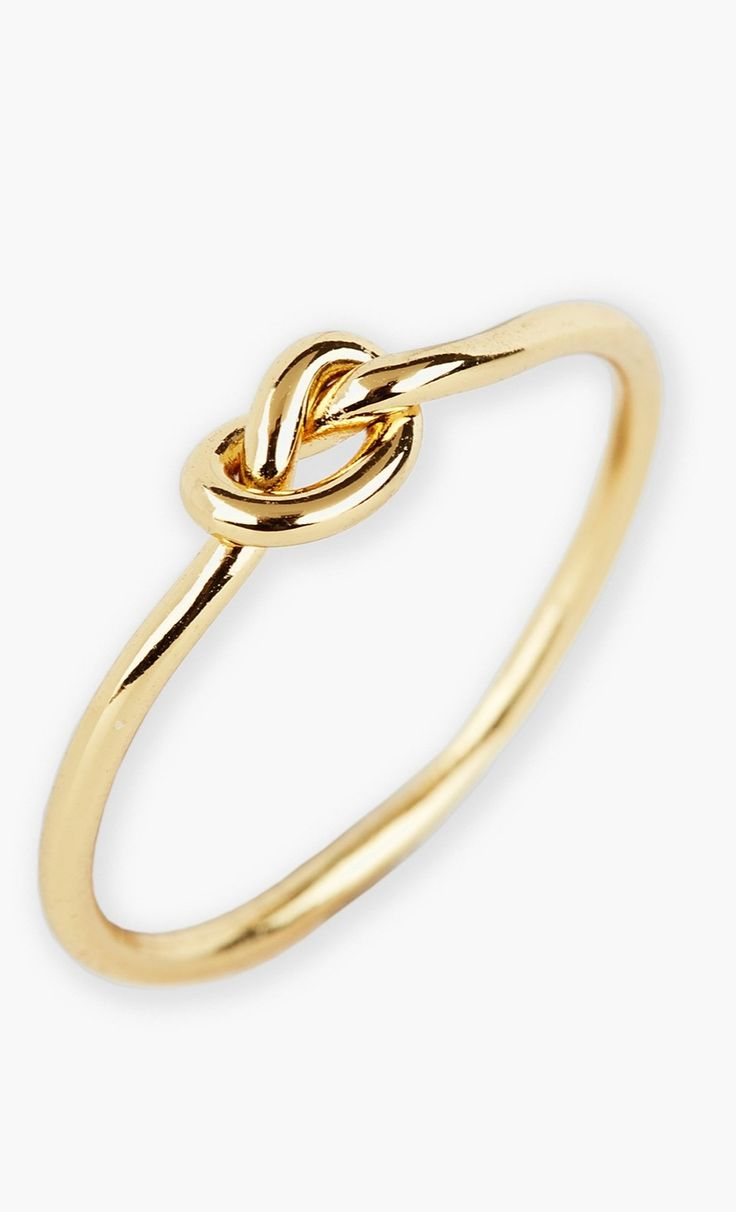 The cutest mini knot gold ring. Want this!