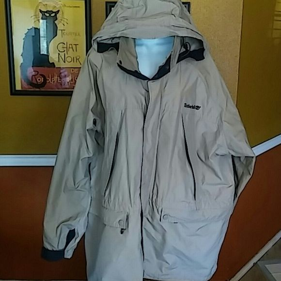 Timberland Jacket Men's windbreaker zip and snap closure. Hooded. Beige. Lots of pockets. Timberland Jackets & Coats
