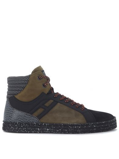 HOGAN REBEL Sneaker Hogan Rebel R141 In Camoscio Verde Bosco E Pelle Nera. #hoganrebel #shoes #sneakers