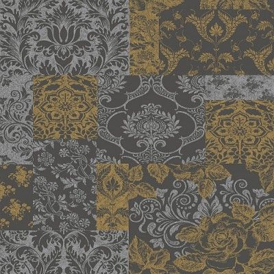 Brocade Gold/Grey (M0892) - Vymura Wallpapers - An elegant wallpaper featuring an all over mismatched tile design, featuring various motifs. Shown here in black, grey and gold. Other colourways are available. Please request a sample for a true colour match.