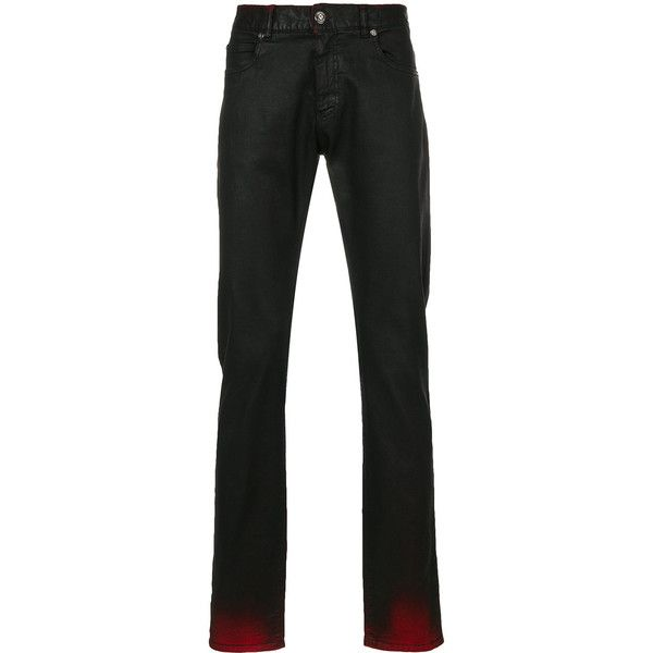 Versace contrast colour jeans (12,475 MXN) ❤ liked on Polyvore featuring men's fashion, men's clothing, men's jeans, black, versace mens jeans, mens jeans, mens zipper jeans, mens button fly jeans and mens cuffed jeans